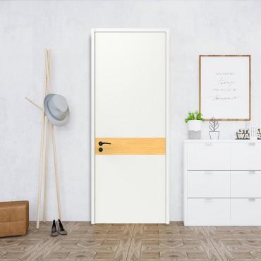 派的门,实木复合门,MP-004一见钟情,绒白+燕麦色,卧室门